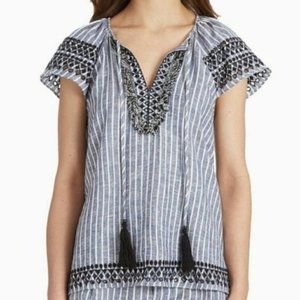 Parker linen embroidered blue & white Valerie Top
